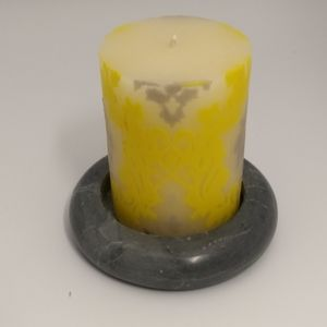 Soap Stone Candle holder/Design Candle Gray/yellow